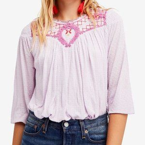 FREE PEOPLE Begonia Embroidered Peasant Top L